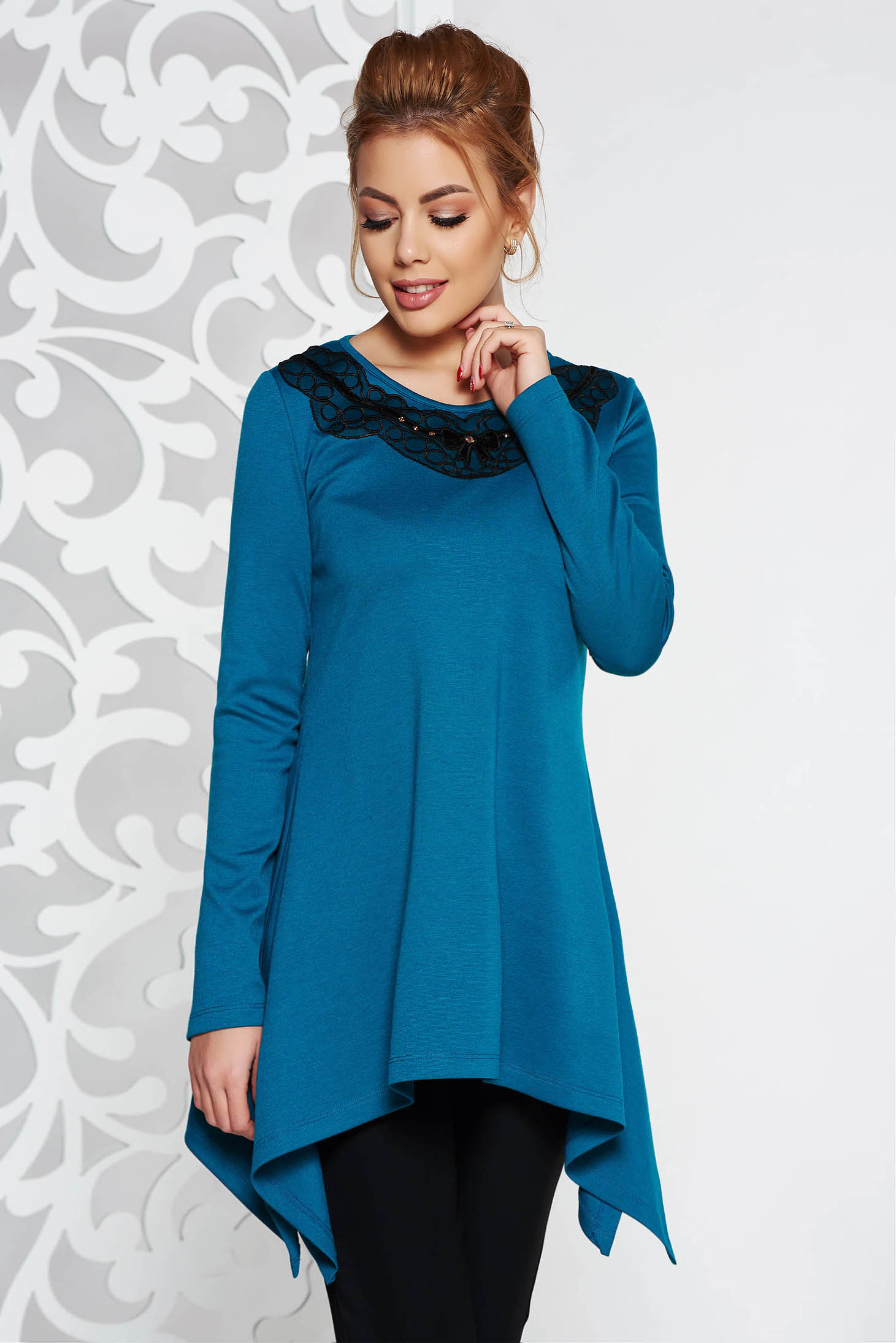 LaDonna turquoise elegant asymmetrical flared women`s blouse slightly elastic fabric with embroidery details