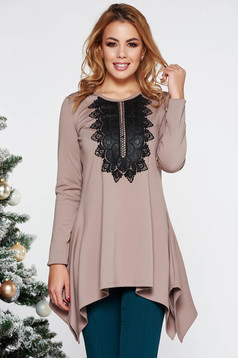 LaDonna cream elegant asymmetrical flared women`s blouse slightly elastic fabric with embroidery details