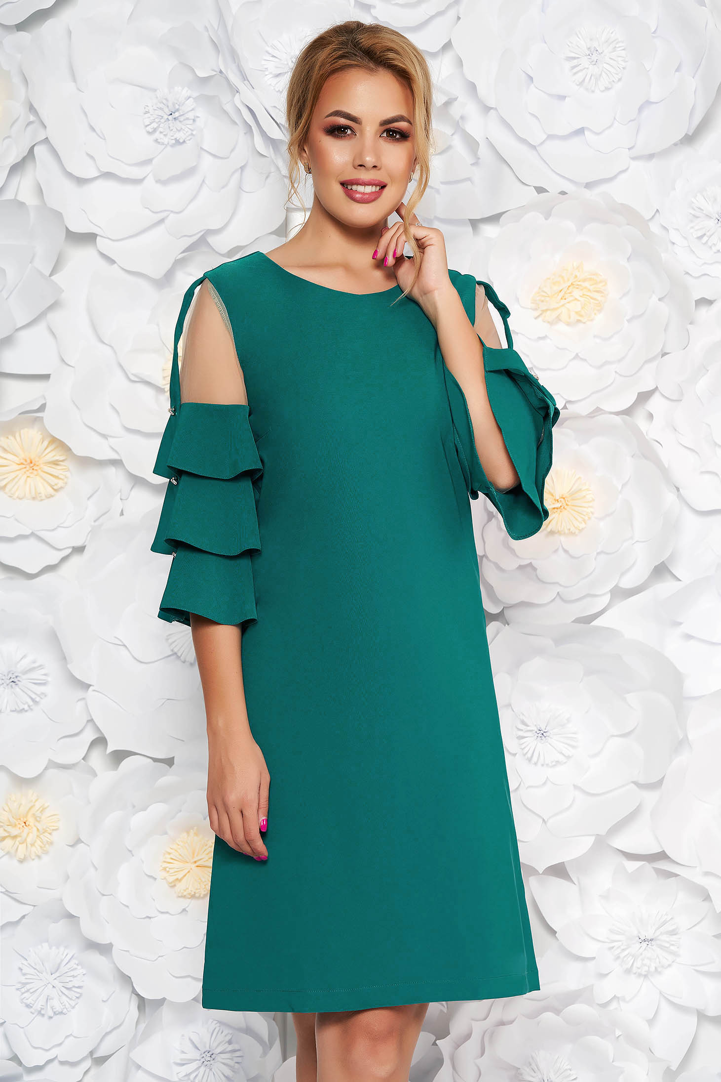 LaDonna turquoise elegant dress with straight cut slightly elastic fabric with inside lining with net accessory