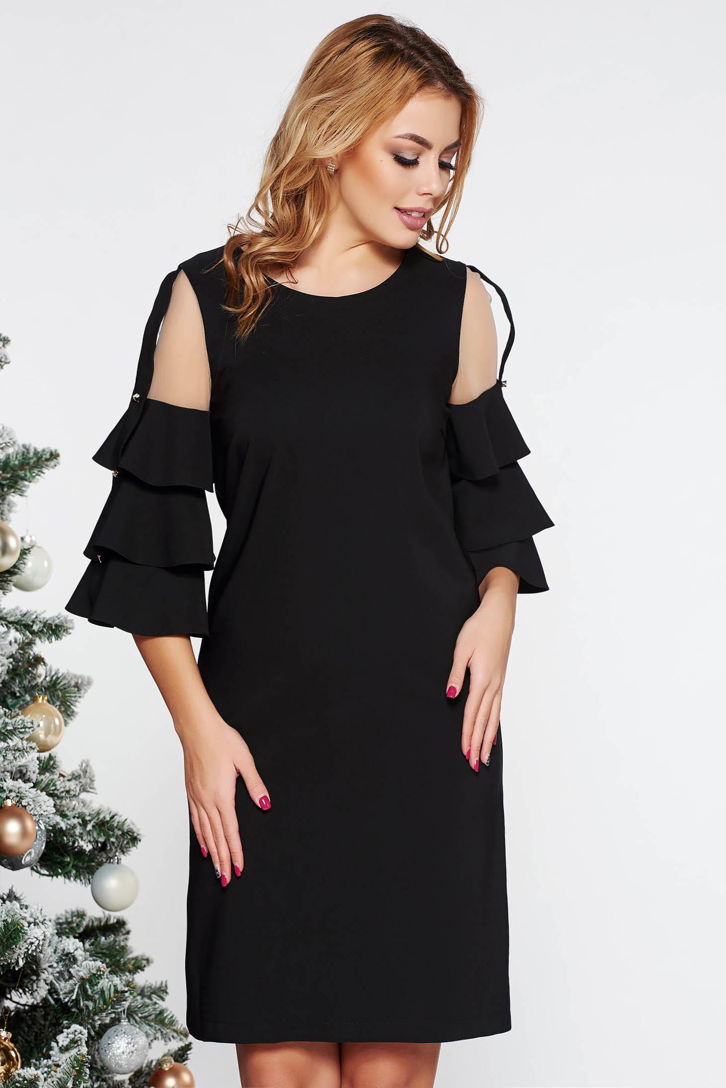 Rochie LaDonna neagra eleganta cu un croi drept din stofa usor elastica captusita pe interior cu aplicatii de tul