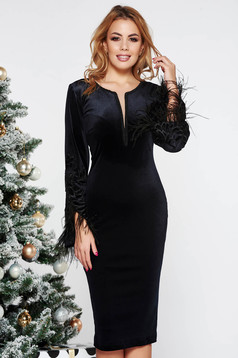 LaDonna black occasional midi pencil dress from velvet with inside lining feather details