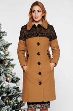 LaDonna elegant mustard arched cut embroidered wool coat with inside lining with pockets with inside lining