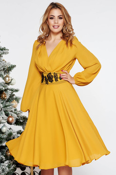 LaDonna mustard elegant midi cloche dress from veil fabric with inside lining accessorized with tied waistband embroidered