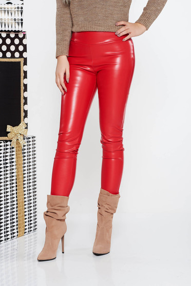 PrettyGirl red tights casual from ecological leather with elastic waist with tented cut with medium waist