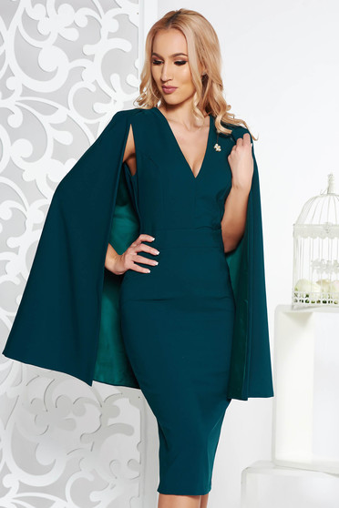 PrettyGirl darkgreen occasional midi pencil dress slightly elastic fabric with v-neckline