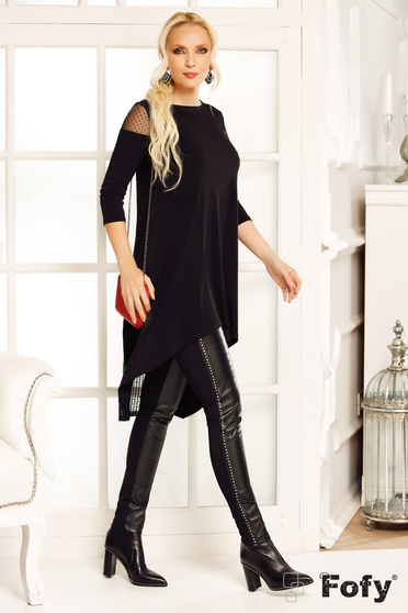 Fofy black casual long flared asymmetrical women`s blouse slightly elastic fabric