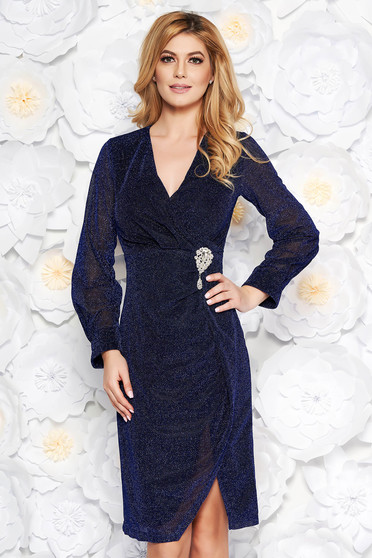 Artista blue occasional midi dress from shiny fabric accessorized with breastpin with v-neckline