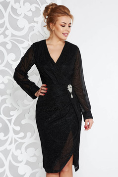 Artista black occasional midi dress from shiny fabric accessorized with breastpin with v-neckline
