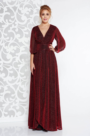 Artista burgundy long occasional cloche dress shimmery metallic fabric with inside lining with v-neckline