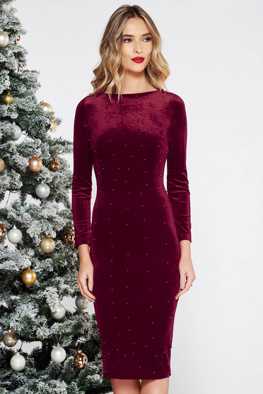 Artista burgundy occasional midi from velvet dress with tented cut with small beads embellished details