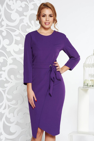 Purple elegant pencil dress slightly elastic fabric accessorized with tied waistband