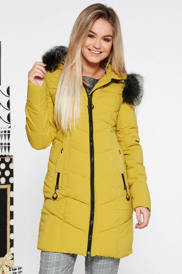 SunShine mustard casual jacket from slicker with inside lining with undetachable hood with pockets