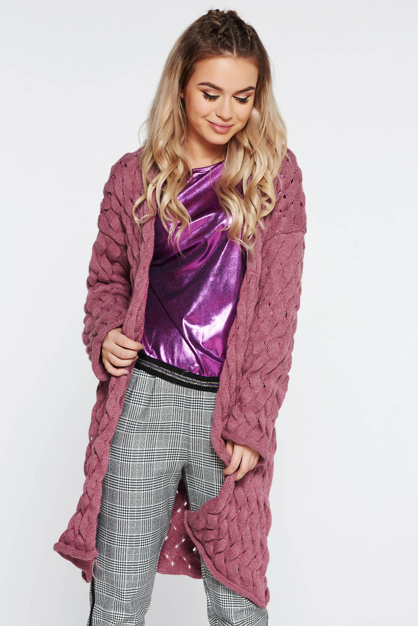 SunShine purple casual cotton knitted cardigan with easy cut