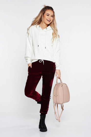 SunShine burgundy casual from velvet trousers with pockets with medium waist with elastic waist