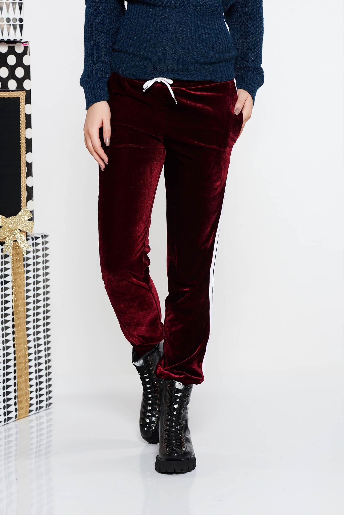 Pantaloni SunShine visinii casual cu talie medie din catifea cu buzunare cu elastic in talie