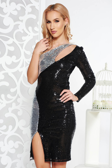 Black occasional midi pencil dress with sequins with inside lining