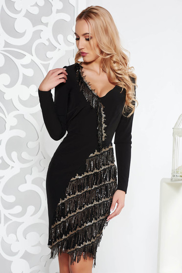 Black occasional dress soft fabric with fringes with inside lining with sequin embellished details