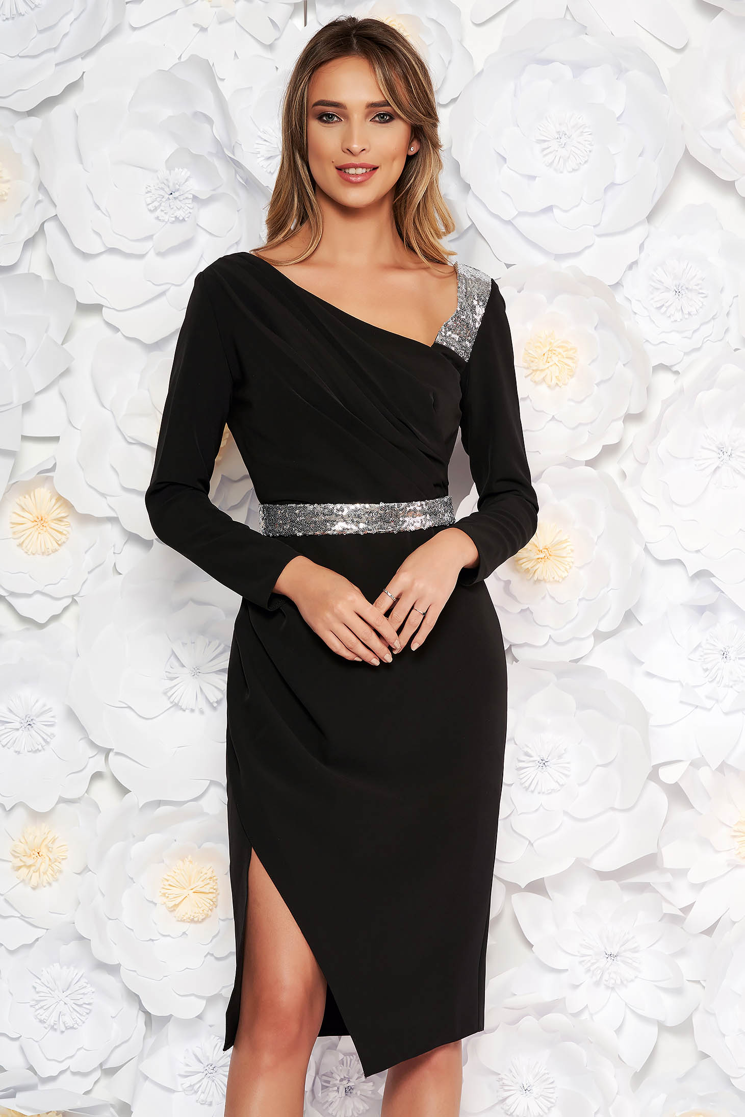 Black occasional midi pencil dress slightly elastic fabric with inside lining accessorized with tied waistband