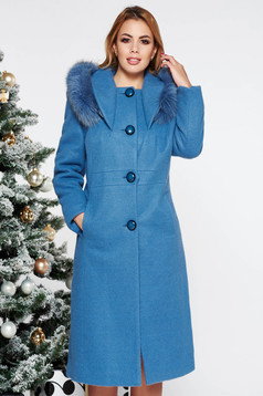 Lightblue elegant wool coat straight with inside lining with pockets fur collar