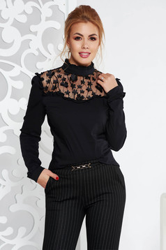 Fofy black elegant women`s blouse with tented cut with floral details