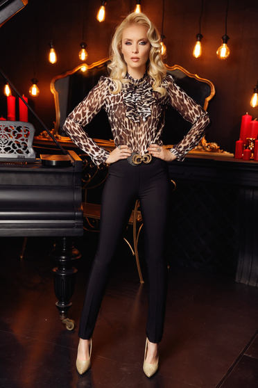 Fofy black women`s blouse elegant from veil with animal print accessorized with breastpin