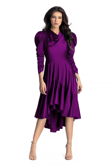 Ana Radu purple luxurious asymmetrical dress from satin fabric texture with puffed sleeves with ruffles at the buttom of the dress