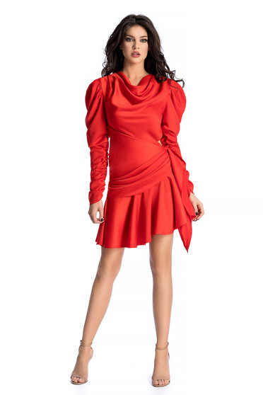 Ana Radu red dress luxurious asymmetrical from satin fabric texture with puffed sleeves with ruffle details