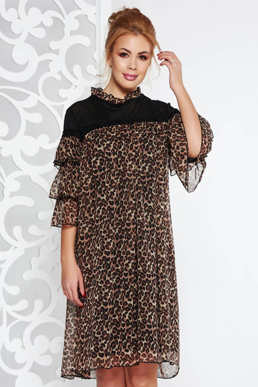 Fofy brown clubbing flared dress from veil with animal print with inside lining with ruffle details