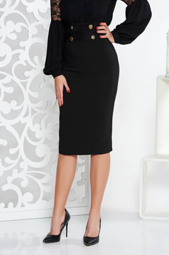 Fofy black elegant high waisted pencil skirt slightly elastic fabric with button accessories