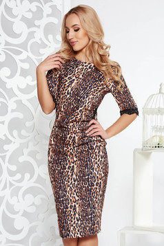 Fofy brown elegant dress with tented cut slightly elastic fabric lace and sequins details