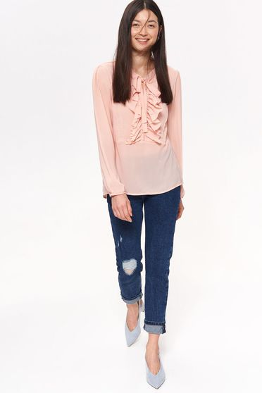 Top Secret rosa women`s blouse casual flared slightly transparent fabric with ruffle details