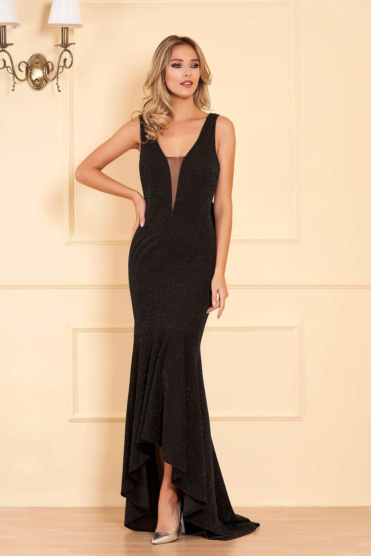 Artista black occasional dress slightly elastic fabric with push-up cups with ruffles at the buttom of the dress