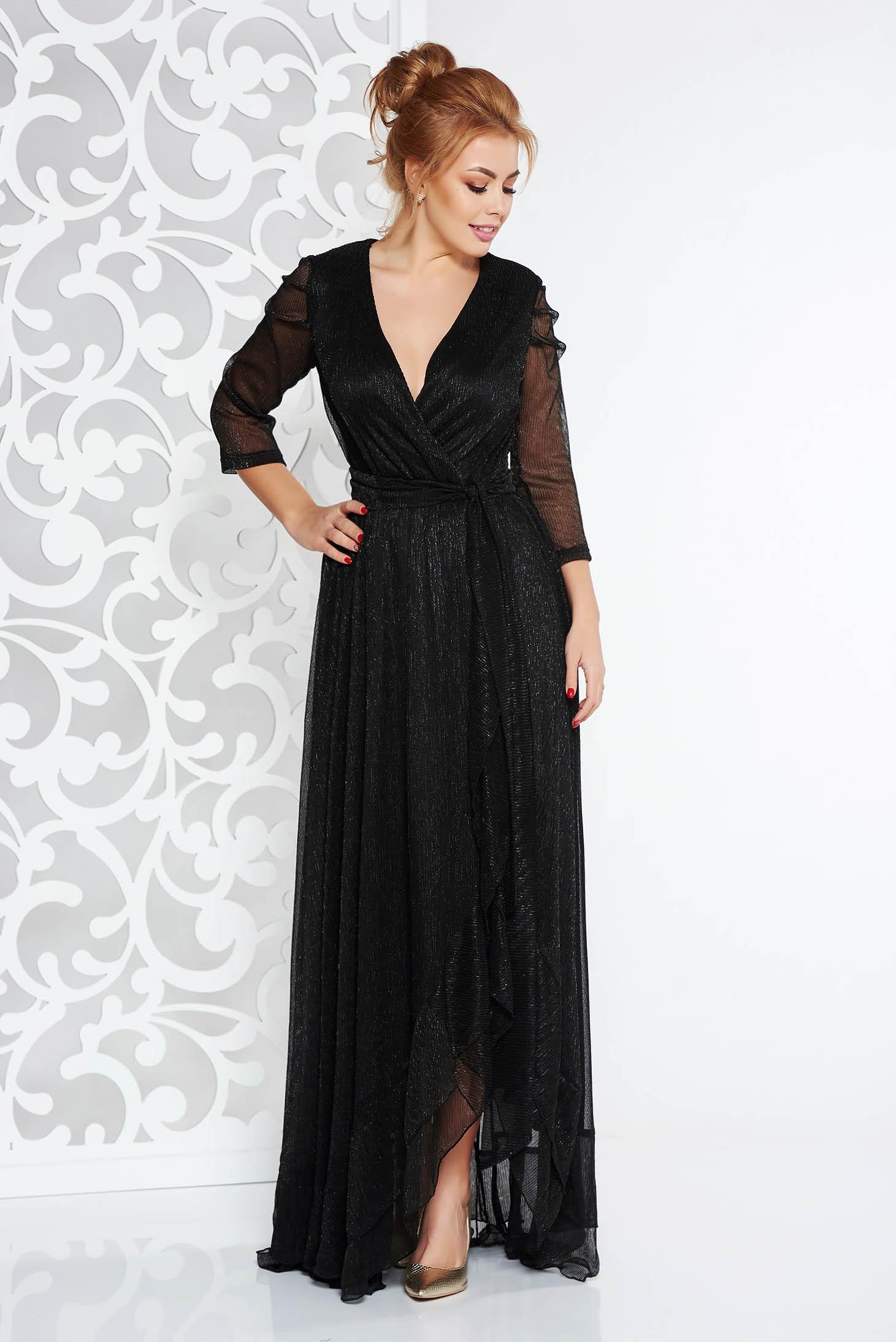 Fekete Artista alkalmi ruha fényes anyag lamé szál belső béléssel övvel  ellátva 6a4f301bea