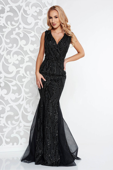 Artista black occasional mermaid dress with sequins from tulle with inside lining with push-up cups