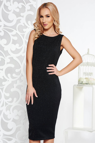 PrettyGirl black occasional midi pencil dress from soft fabric with lame thread bare back