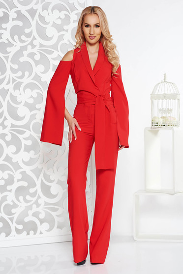 PrettyGirl red occasional jumpsuit with tented cut slightly elastic fabric both shoulders cut out