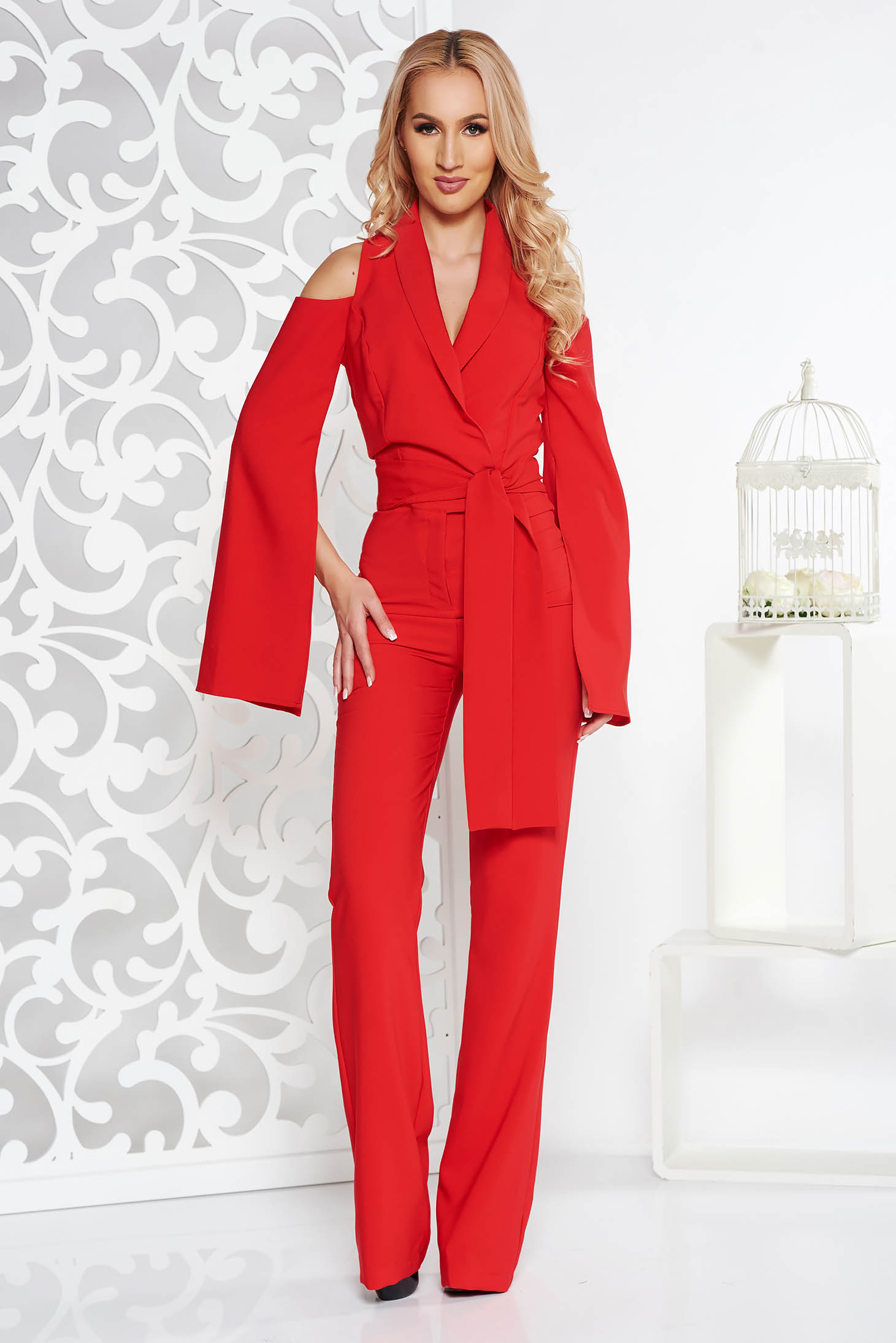 89d13bd204c0 PrettyGirl red occasional jumpsuit with tented cut slightly elastic fabric  ...