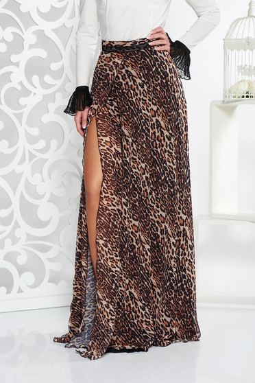 Fofy brown elegant cloche skirt from veil with animal print high waisted with inside lining
