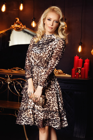 Fofy black elegant cloche dress from veil fabric with animal print with inside lining with ruffles on the chest