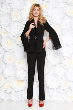 Artista black elegant lady set from non elastic fabric with lace details