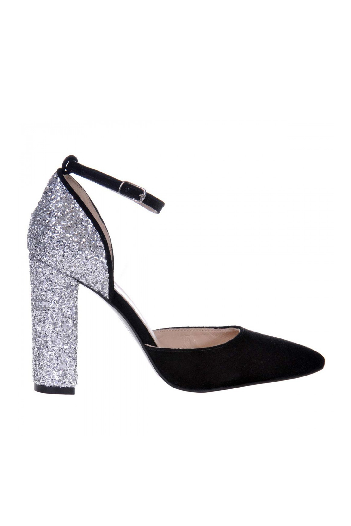 Pantofi argintiu din piele naturala cu aplicatii cu sclipici