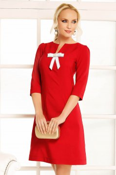Fofy burgundy daily a-line dress slightly elastic fabric bow accessory