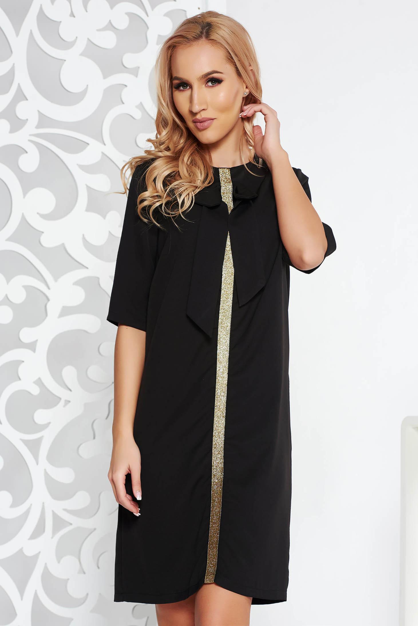 Rochie Fofy neagra eleganta cu croi larg din stofa neelastica cu maneci trei-sferturi