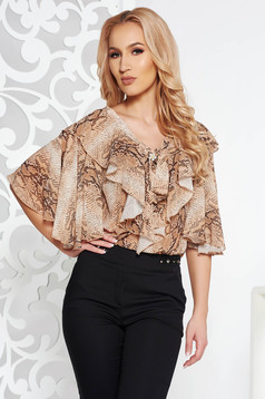 PrettyGirl brown elegant flared women`s blouse airy fabric with animal print with v-neckline