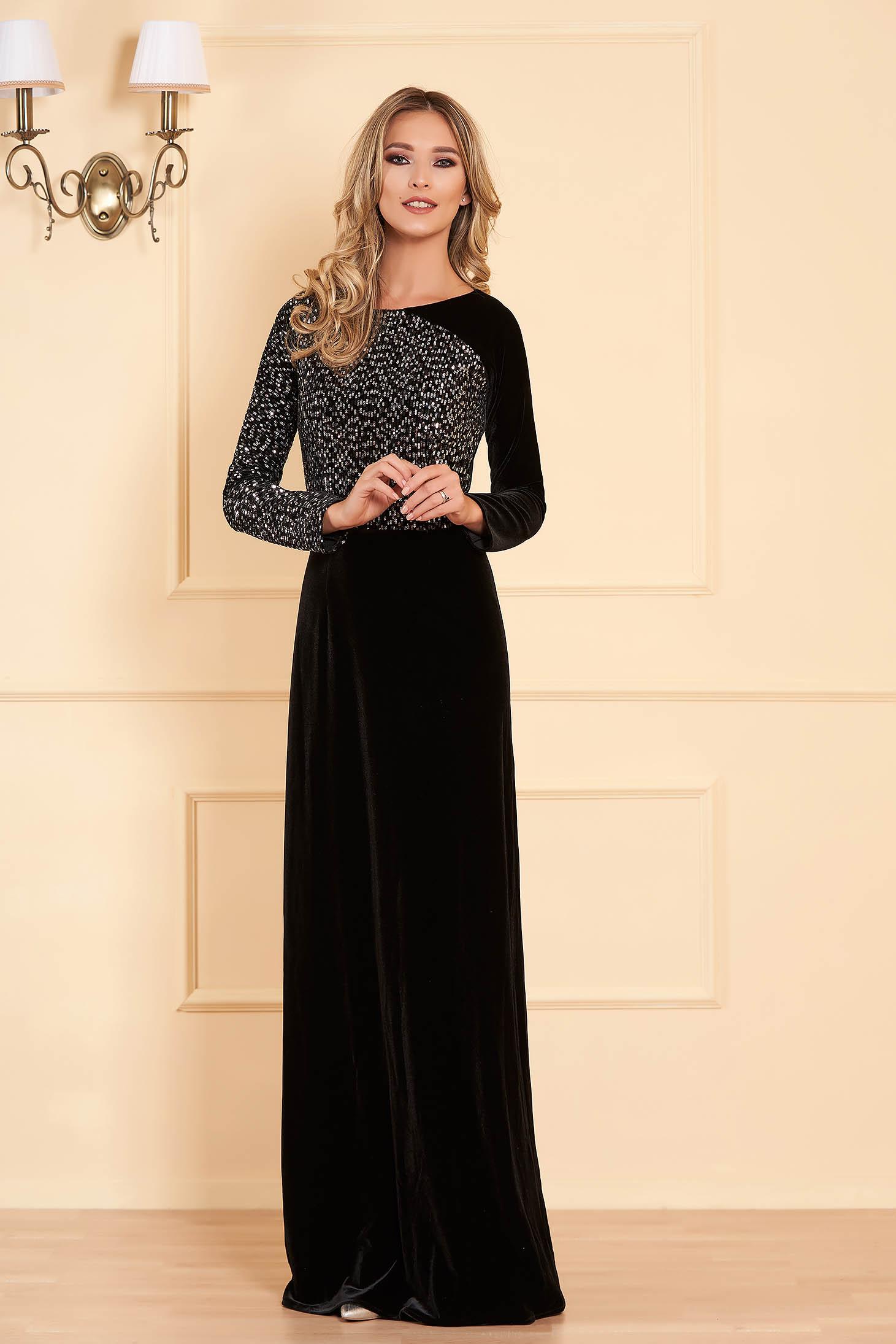 Black occasional long cloche dress velvet with sequins