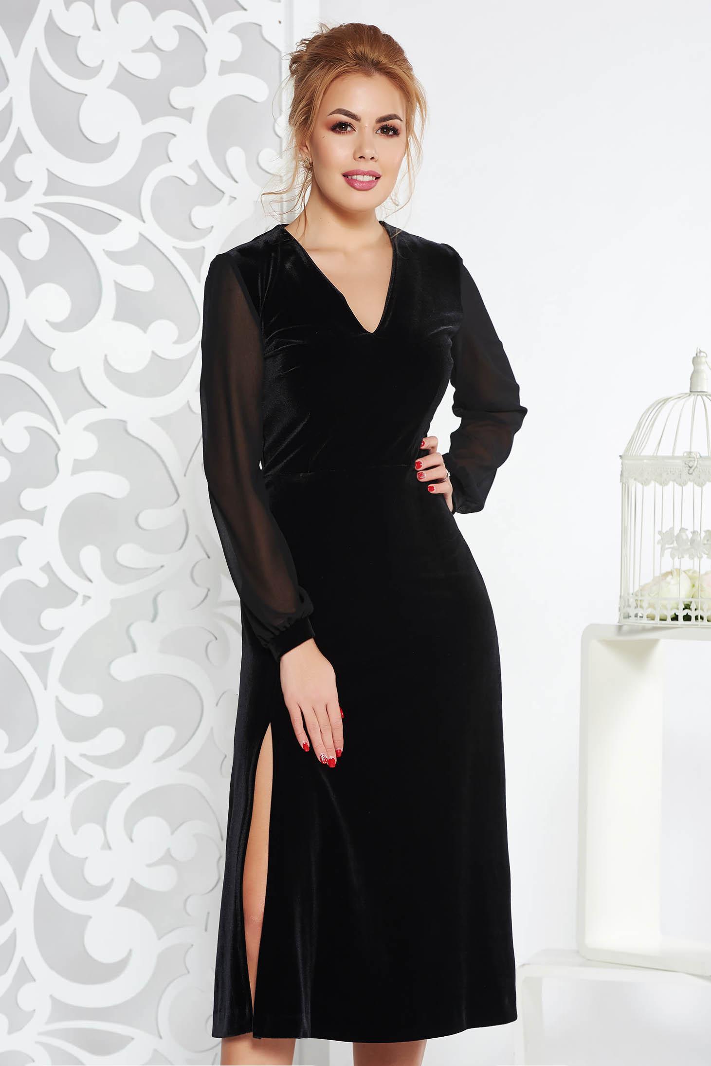 Rochie neagra de ocazie in clos din catifea captusita pe interior cu maneci din voal