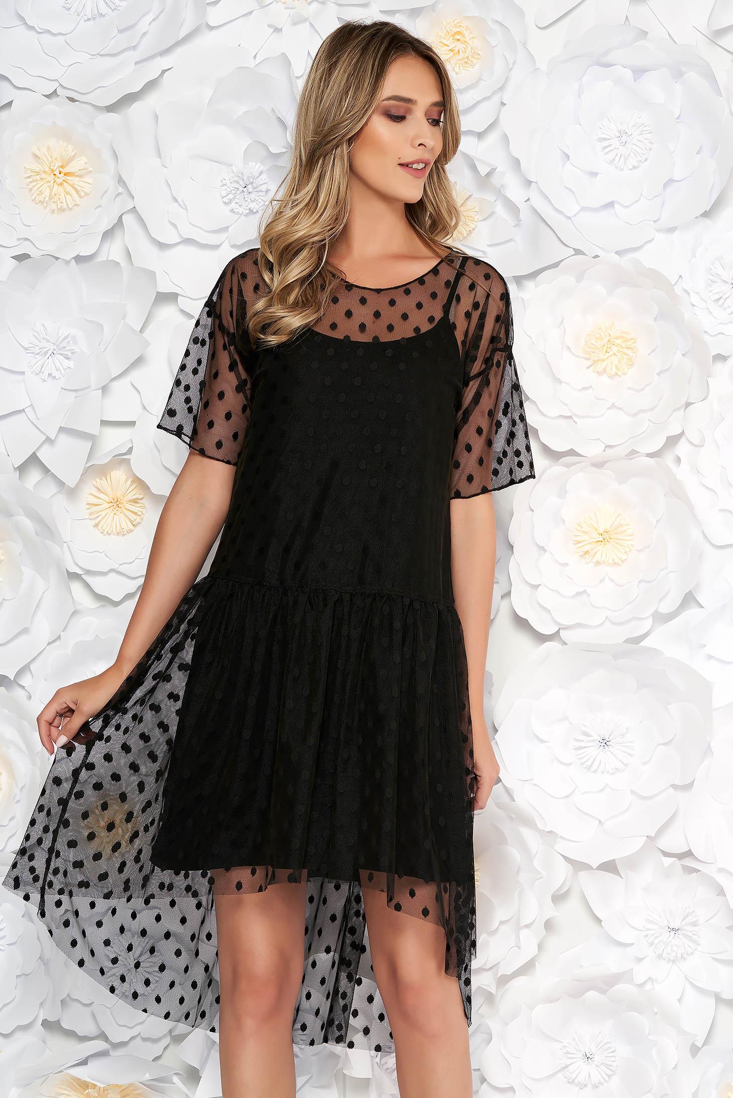 4dd438559c Fekete party ruha bő szabású tüll pöttyökkel belső béléssel