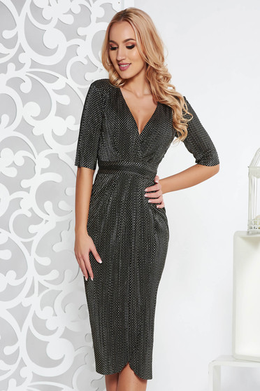 Gold occasional wrap around dress thin fabric with inside lining with metallic aspect