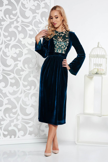 Darkgreen dress occasional cloche velvet with sequin embellished details midi