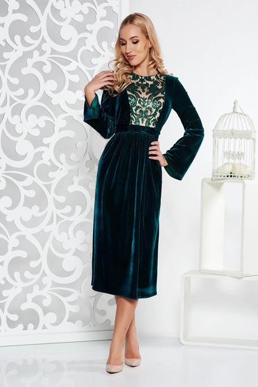 Darkgreen occasional midi cloche dress velvet with sequin embellished details